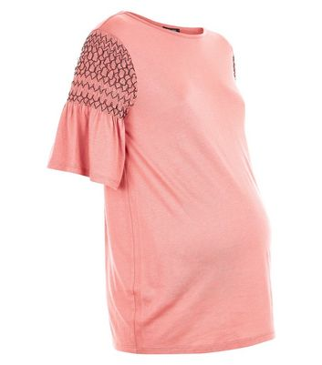 Maternity Rust Contrast Shirred Sleeve T-Shirt New Look