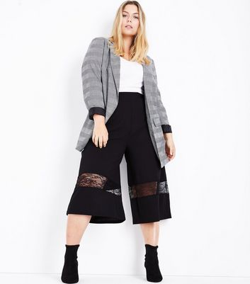 Curves Black Lace Panel Culottes New Look