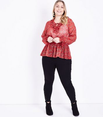 Curves Red Floral Frill Trim Shirred Waist Blouse New Look