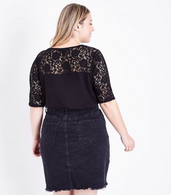 Curves Black Lace Yoke and Sleeve T-Shirt New Look