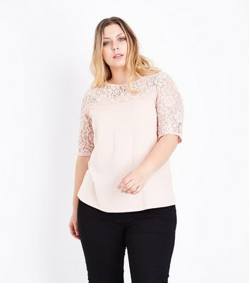 Curves Pale Pink Lace Yoke and Sleeve T-Shirt New Look