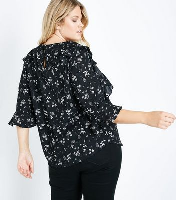 Curves Black Floral Frill Trim Blouse New Look