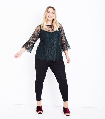 Curves Dark Green 2 Tone Lace Bell Sleeve Top New Look