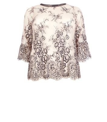 Curves Shell Pink 2 Tone Lace Bell Sleeve Top New Look