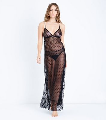 Black Spot Mesh Slip New Look