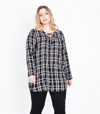 Curves Black Check Lace Up Tunic Top New Look