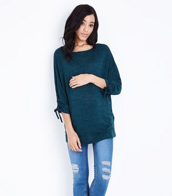 Maternity Green Ruched Sleeve Fine Knit Top New Look