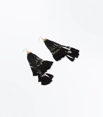 Black Bead Tassel Asymmetric Earrings New Look