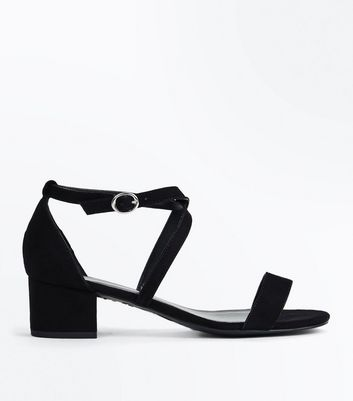Teens Black Suedette Cross Strap Block Heels New Look