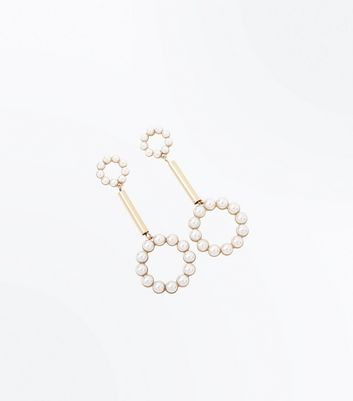Cream Pearl Embellished Geometric Drop Earrings New Look