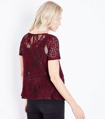 Maternity Burgundy Mixed Lace Peplum Hem Top New Look