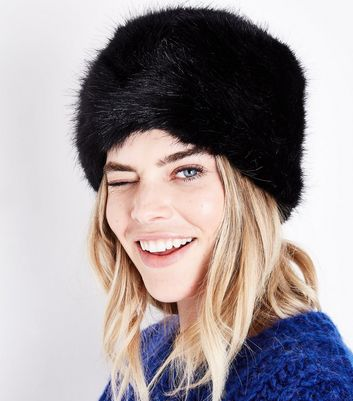 Black Faux Fur Cossack Hat New Look