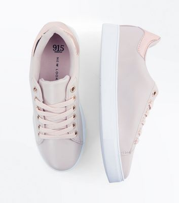 Teens Cream Metallic Back Panel Trainers New Look