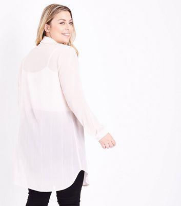 Curves Pink Metallic Stripe Sheer Longline Shirt New Look