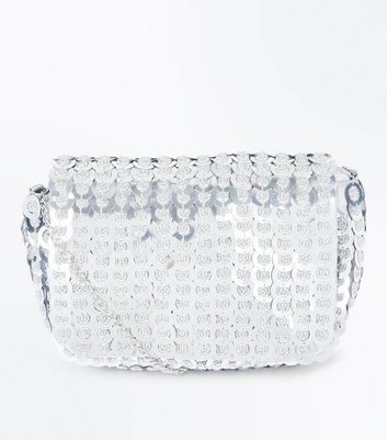 Silver Sequin Chain Shoulder Bag New Look