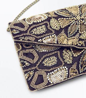 Gold Bead Embellished Envelope Clutch Bag New Look