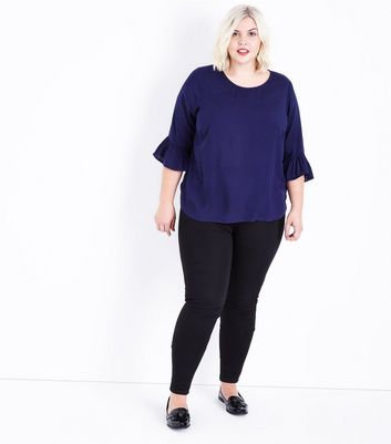 Curves Navy Blue Bell Sleeve Top New Look