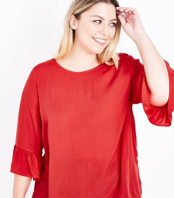 Curves Red Bell Sleeve Top New Look