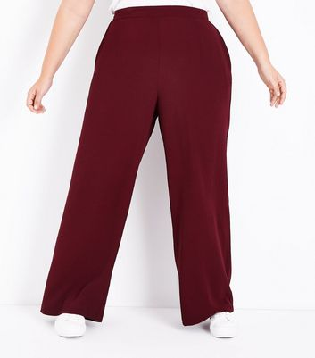 Curves Burgundy Wide Leg Trousers New Look