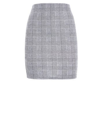 Teens Black Check Tube Skirt New Look