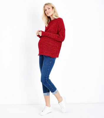 Maternity Red Chenille Jumper New Look
