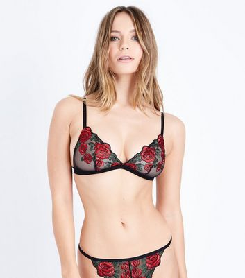 Red Floral Embroidered Bralet New Look