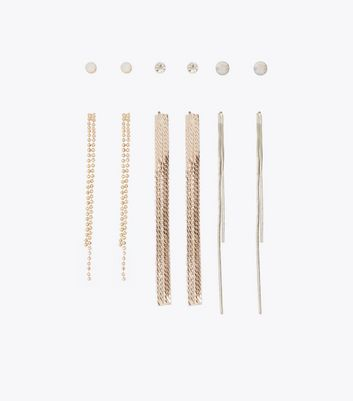 6 Pack Gold And Silver Chain Tassel Earrings New Look