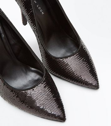Wide Fit Black Sequin Pointed Court Shoes New Look
