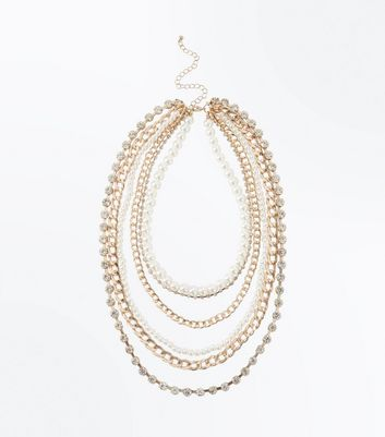 Gold Pearl Layered Chain Necklace New Look