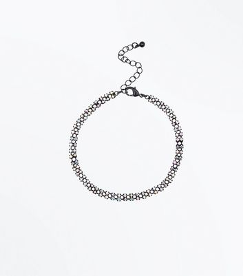 Black Gem Embellished Anklet New Look