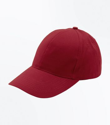 Burgundy Cotton Cap New Look