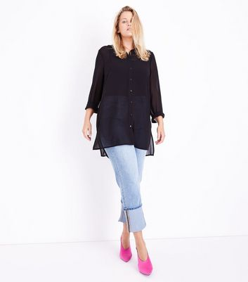Curves Black Chiffon Longline Shirt New Look