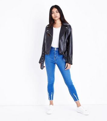 Petite Bright Blue Fray Hem High Waist Skinny Jeans New Look