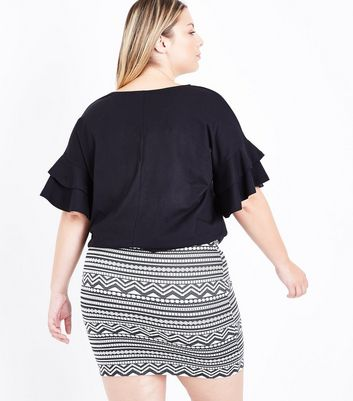 Curves Black Aztec Jacquard Tube Skirt New Look