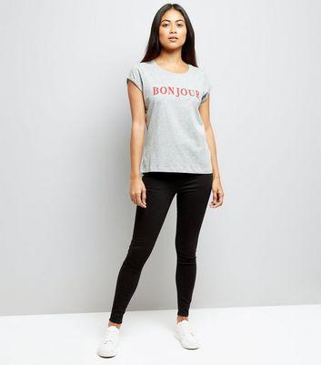 Petite Grey Bonjour Slogan T-Shirt New Look