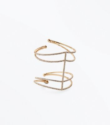 Silver Crystal Layered Diamante Cuff New Look