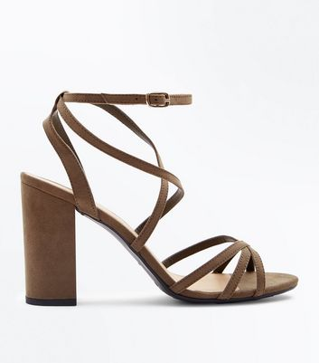 Wide Fit Khaki Suedette Strappy Block Heels New Look