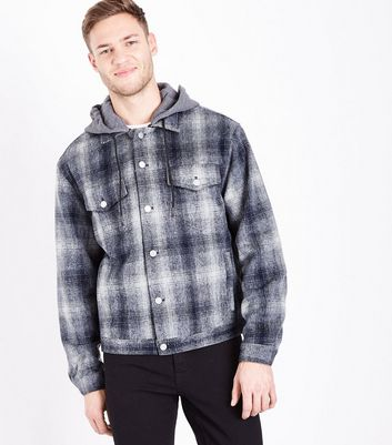 Blue Hooded Check Western Jacket