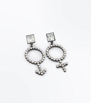 Silver Diamante Gender Symbol Earrings New Look