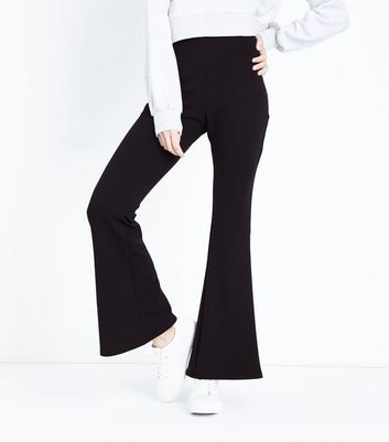 Black Crepe Scuba Flared Trousers New Look