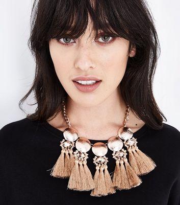Rose Gold Embellished Metallic Tassel Necklace New Look