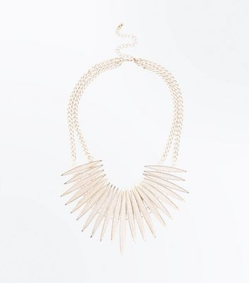 Pink Glitter Spike Necklace New Look