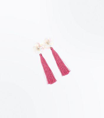 Pink Sequin Flower Tassel Drop Earrings New Look