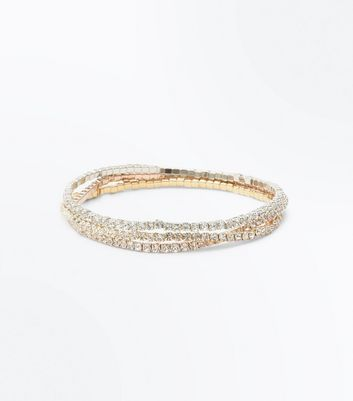 3 Pack Gold Silver and Rose Gold Diamanté Stretch Bracelets New Look