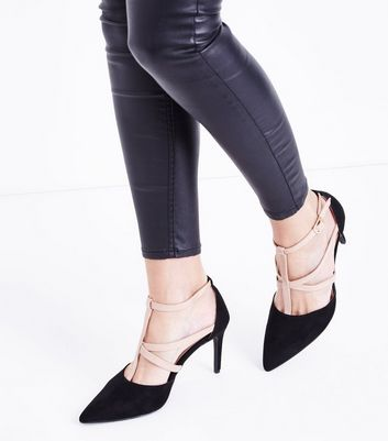 Black and Nude Strappy T-Bar Pointed Courts New Look
