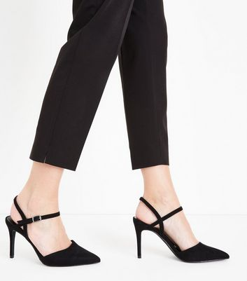 Black Suedette Ankle Strap Pointed Court Shoes New Look