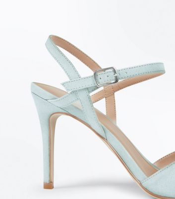Mint Green Suedette Ankle Strap Pointed Court Shoes New Look