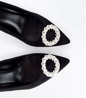 Black Suedette Brooch Toe Pointed Courts New Look