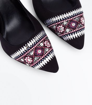 Black Suedette Embroidered Ankle Strap Pointed Courts New Look