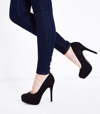 Black Suedette Platform Court Shoes New Look